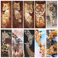 Diamond Embroidery 5D DIY Diamond Painting Animal Tigers And Giraffes Cross Stitch Full Rhinestone Mosaic Christmas