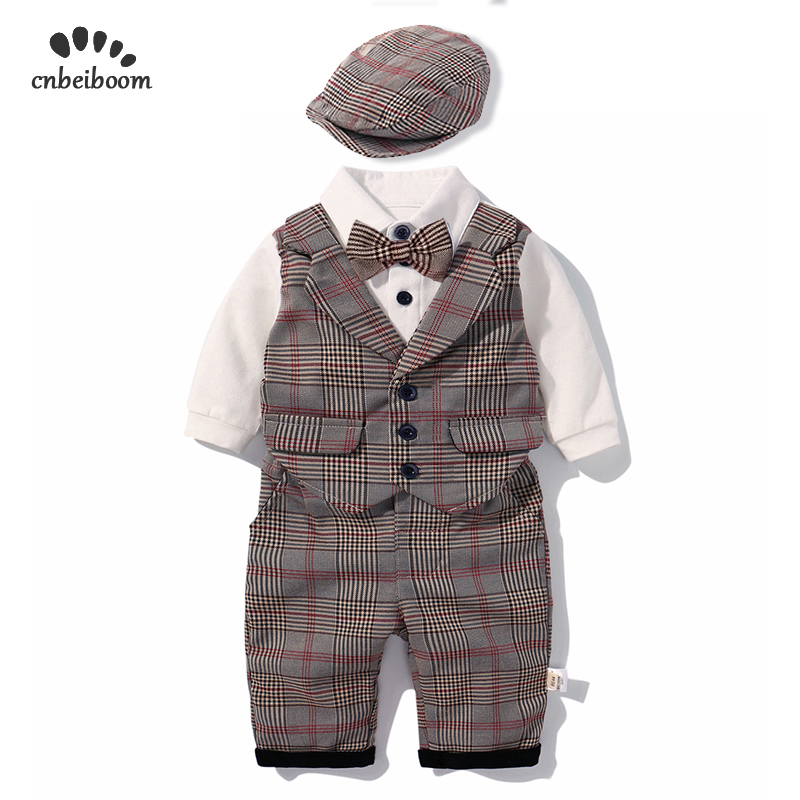 2019 New baby boy rompers clothes sets children's baby clothing plaid vest pant hat boy's set gentleman suit long sleeve dress-in Rompers from Mother & Kids