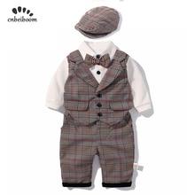 Новинка 2019 года, Комбинезоны для маленьких мальчиков, комплекты одежды, детская одежда для малышей, клетчатый жилет, штаны, шляпа, комплект для мальчиков, Костюм Джентльмена, платье с длинными рукавами