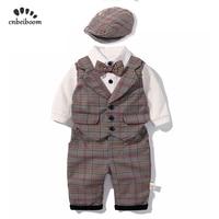 2019 New baby boy rompers clothes sets children's baby clothing plaid vest pant hat boy's set gentleman suit long sleeve dress