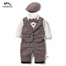 2020 新しい男の子ロンパース服セット子供ベビー衣料チェック柄のベストパンツ帽子の少年のセット紳士スーツ長袖ドレス