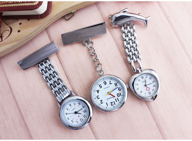 Luxury Crystal silver Stainless Steel Nurses Watch Clip-on Hanging Brooch Round