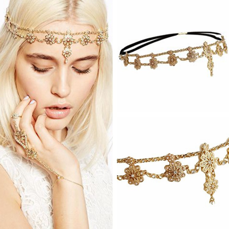 Hair-Accessories Head-Chain Bridal-Headband Flower Crystal Vintage Tassel Pearl Fashion