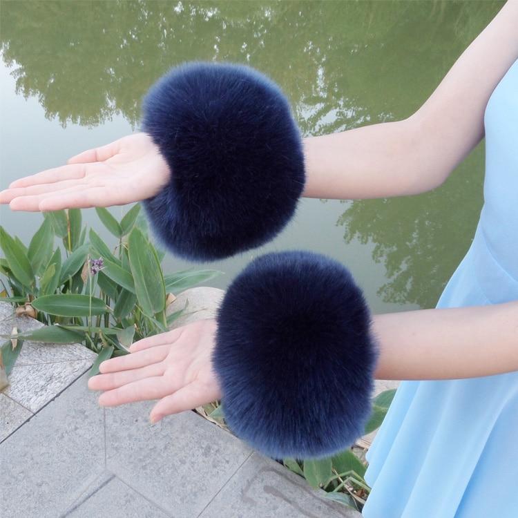 fauxfox fur arm warmers faux raccoon fur sleeve decor ring winter multicolor pom pom fluffy cute cuffs women cute accessories