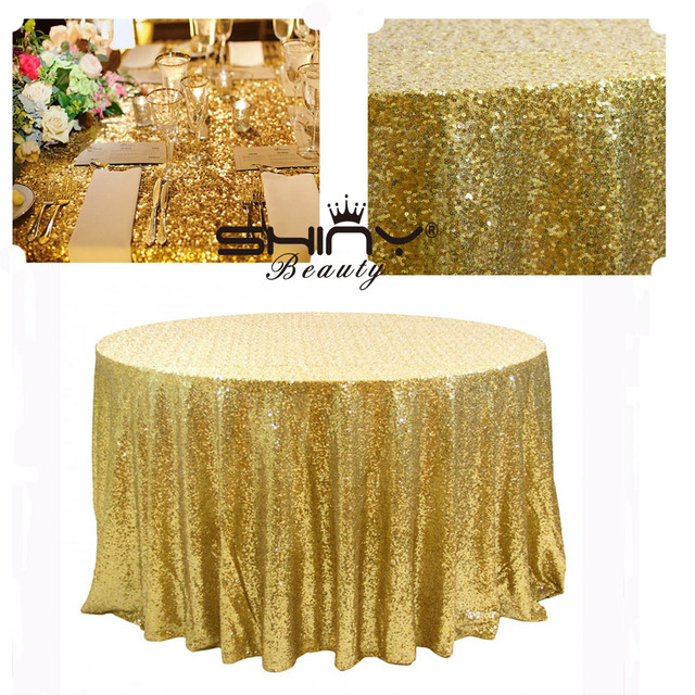 ShinyBeauty Sparkly Gold Sequin Tablecloth 120 Round For Party Decoration