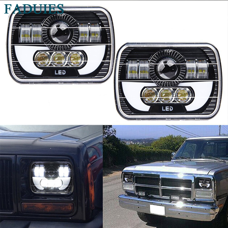 FADUIES 5x 7 6X7 Projector Rectangular Headlights Assembly With Angel Eyes DRL For 87-95 Jeep Wrangler YJ 85-87 Chevy Truck