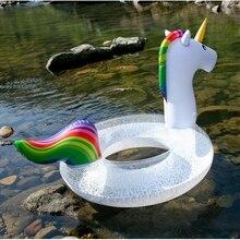 купить 120cm 90cm Transparent Sequin Swim Ring Inflatable Unicorn Pool Float for Adult Swimming Tube Lifebuoy Summer Pool Party Fun дешево
