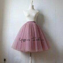 Quality 5 Layers 65cm Maxi Long Tulle Skirt Summer Pleated TUTU Skirts Womens High Waist Retro Lolita Petticoat faldas saia jupe