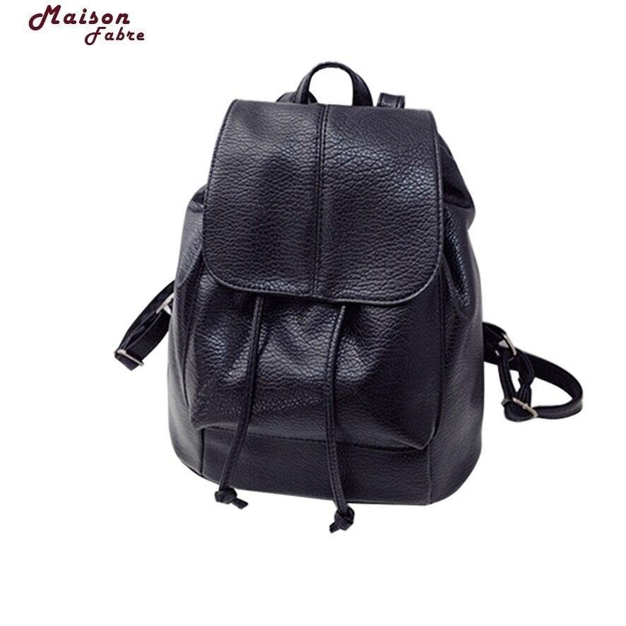 Maison Fabre New Travel Backpack Korean Women Backpack Leisure Student Schoolbag Soft PU Leather Women Bag 808#30