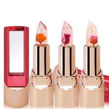 New Natural Flower Gold Foil Lipstick Temperature Changed Lip Balm Moisturizer Lips Makeup Crystal Jelly Lipstick 3 Colors