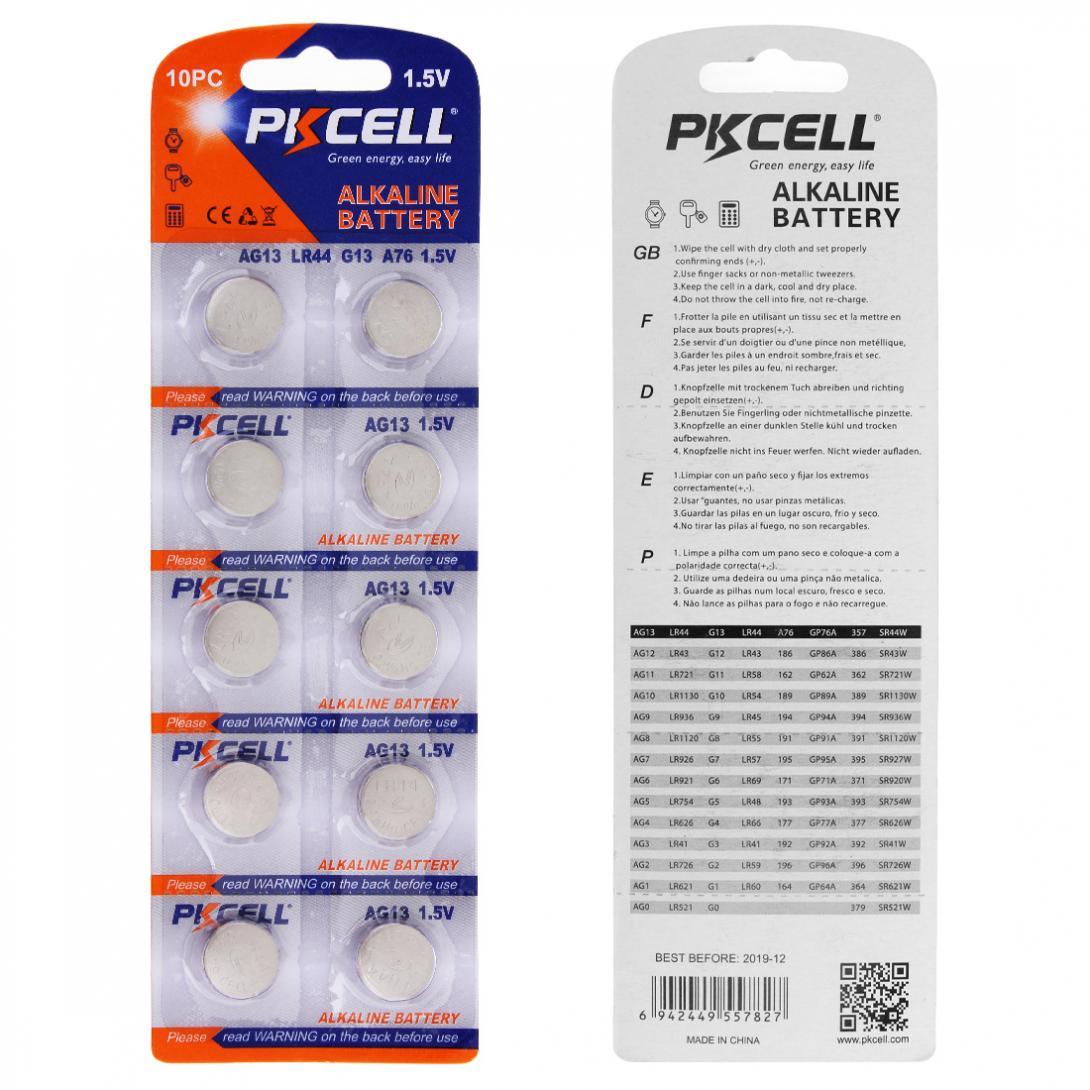 PKCELL 10Pack/100Pcs G13 Batteries 1.5V AG13 357A A76 303 LR44 SR44SW SP76 L1154 RW82 RW42 Alkaline Cell Button Battery 2