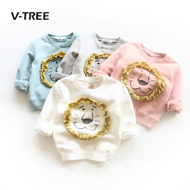Winter Girls Boys T Shirt Clothing Fleece Thick Sweatshirt For Boys Girls Kids Warm Outwear Cute 3D Lion Children Tops Tees 2-7T