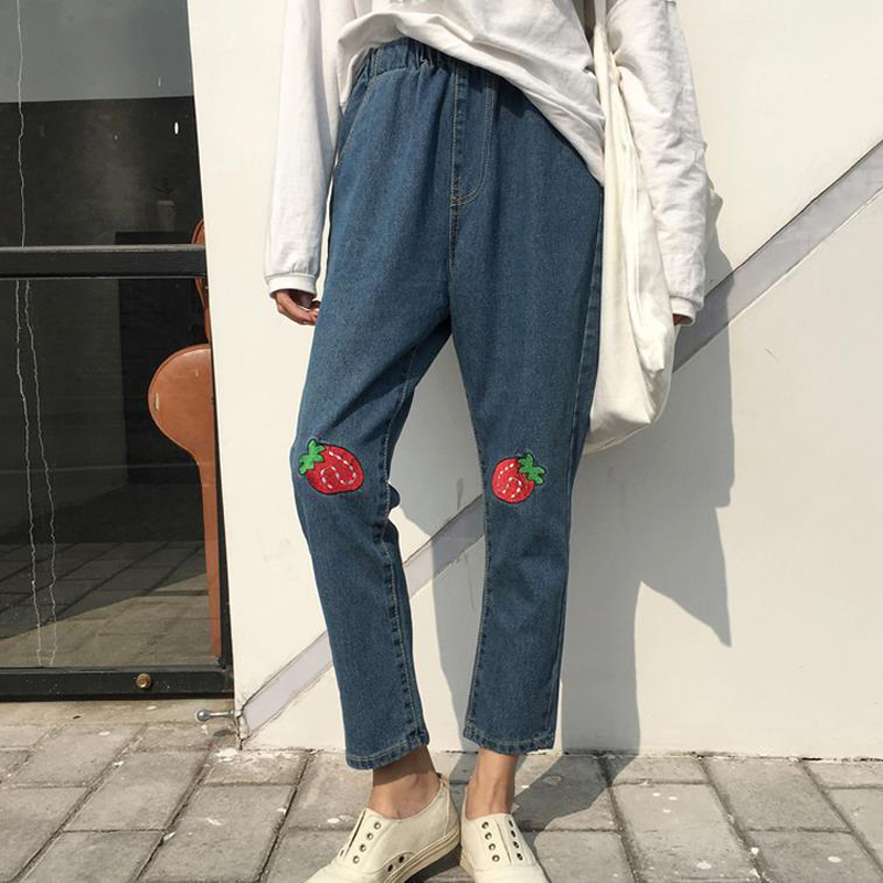 Women Jeans 2017 spring and summer women's ankle-length pants Harajuku Strawberry embroidery girl's casual harem pants 2017 spring new women sweet floral embroidery pastoralism denim jeans pockets ankle length pants ladies casual trouse top118