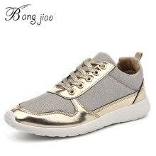 Новинка года; женская обувь; кожаные кроссовки с блестящими блестками; женские повседневные кроссовки; золотистая обувь на толстой подошве со шнуровкой; Zapatos Muje