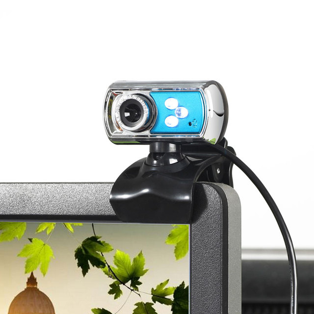12 MP Webcam HD High-definition 3 LED Webcam USB Camera with Mic  Night Vision for PC Computer Peripherals Blue 3