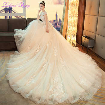 Women\'s A-line Lace Wedding Dresses 2019 Sweetheart Neckline Cap Sleeves Cathedral Train Beaded Flowers Bridal Gowns LP-0324 - Category 🛒 Weddings & Events