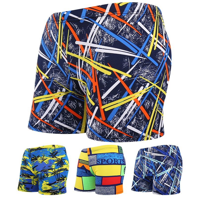 Men Multi Print Swimwear Elastic Swimming Trunks Beach Swim Short Briefs Surfing Summer Swimsuit Boxer Shorts(China)