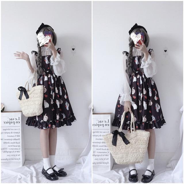 Women's Dresses Chic Lady Kawaii Ulzzang Strawberry Rabbit Cute Strap Dress Female Ins Vintage Harajuku Dress For Women Casual 3