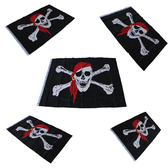 US $2 79 |90*150cm Huge Skull Crossbones Jolly Roger Pirate Flags With  Grommets Decoration bandeira,skull bones pirate flag-in Flags, Banners &