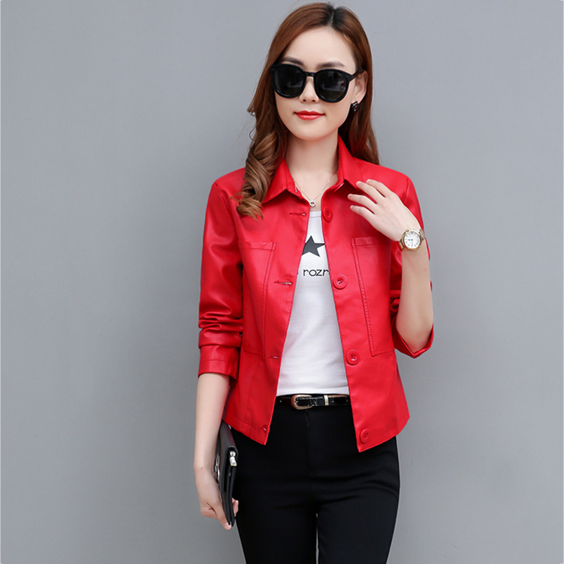 Female 2019 New Design Spring Autumn PU   Leather   Jackets Faux Soft   Leather   Coat Slim Black Red Single-breasted Motorcycle Jackets