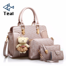 цена на 4 PCS/Set Women Bag Composite Bags pu Leather Shoulder bag Women Crossbody Messenger Bags Luxury Handbag With Bear Doll 2019
