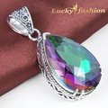 Limited Dragon Necklace Mid-summer Day Best Gifts Exotic Costume Jewelry Rainbow Mystic Created Topaz For Lovers' Dangle Pendant