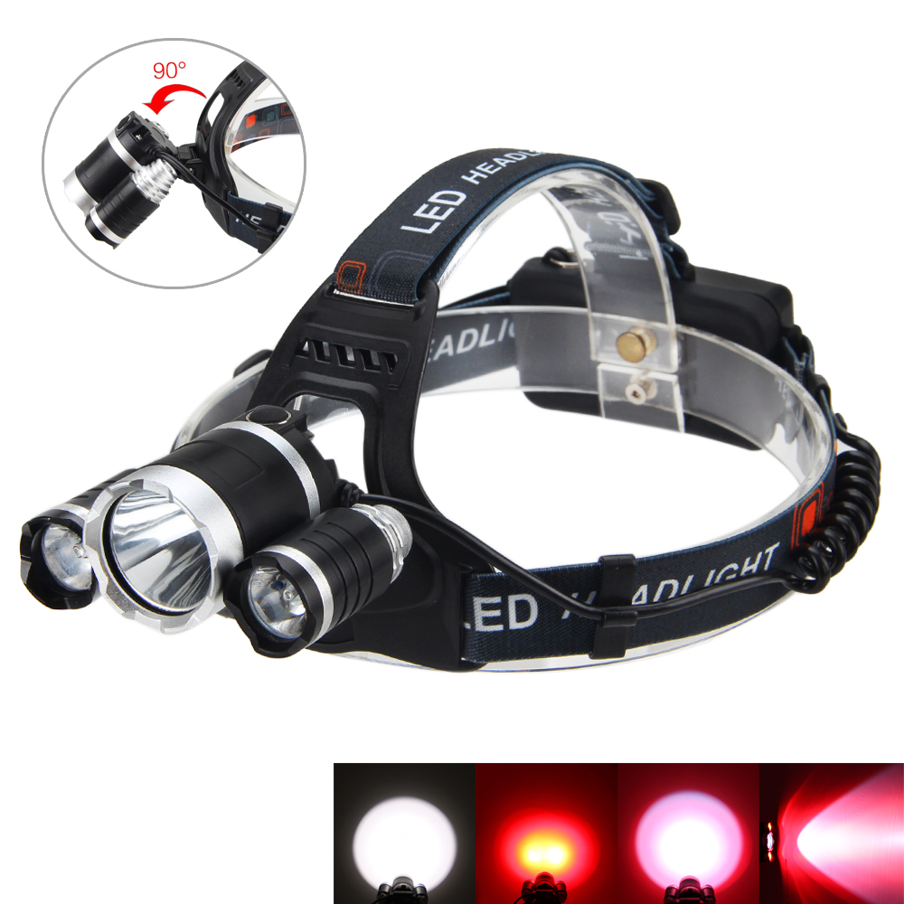 Tactical Light 5000LM 3x XM-L T6 +2x RED R5 LED Torch Camping Lamp Hunting Light