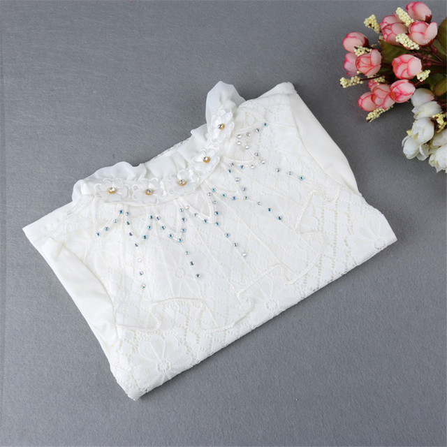 New Girls White T-shirt Cotton Lace Floral Pattern Turtleneck Baby Girls Bottom Shirts 2017 Casual Spring Kids Tops&tees hx033