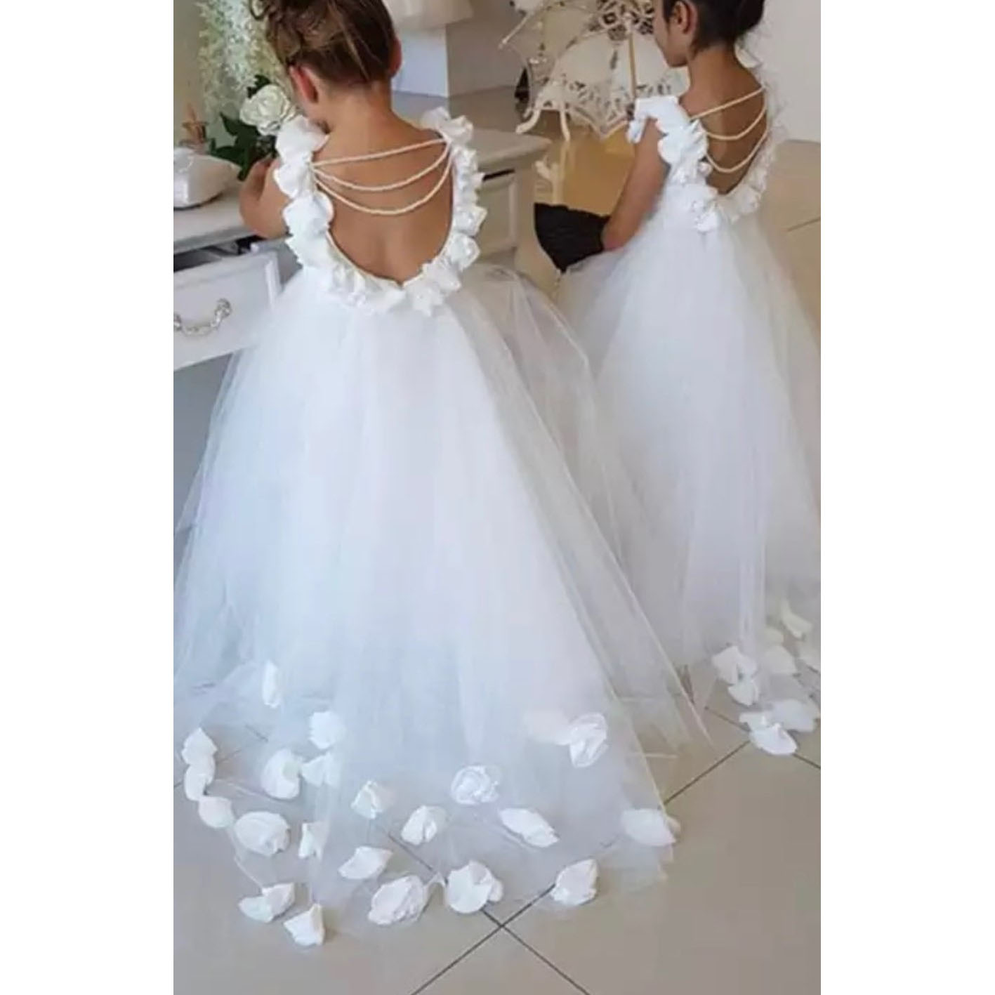 Floral   Girls   Pageant   Dresses   vestido de daminha Cute Pearls   Flower     Girls     Dresses   Tulle Long GirlWedding   Dress   primera comunion