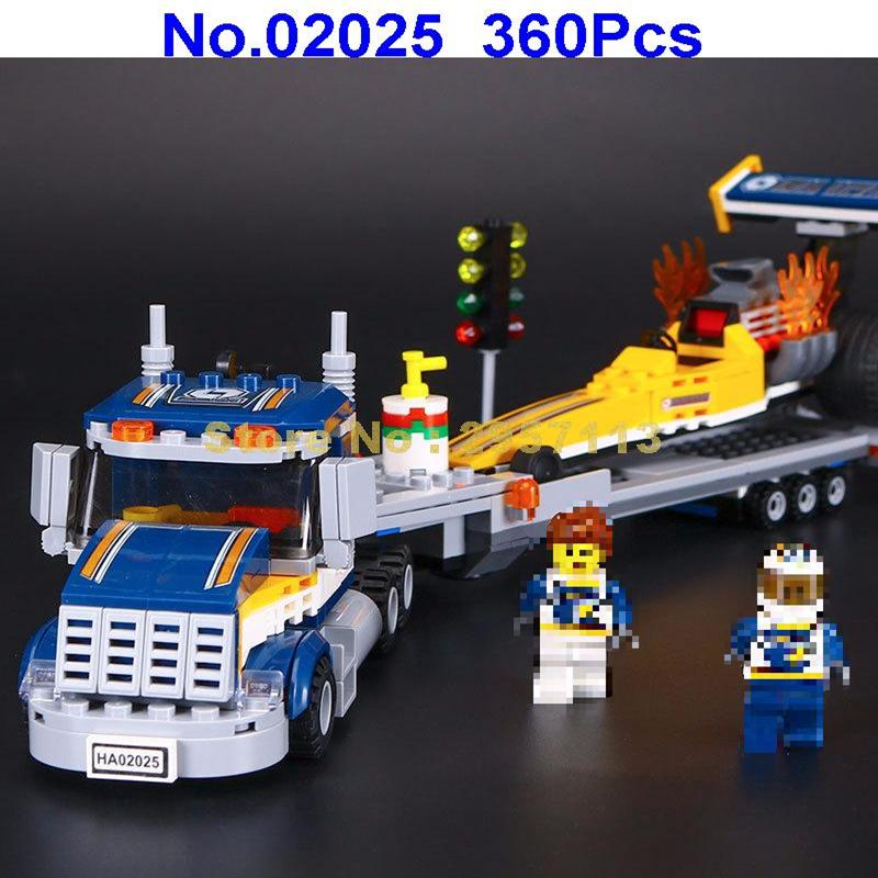 Lepin 02025 360Pcs City Series The High Speed Racer Transporter Building Blocks Compatible 60151 Brick Toy lepin 02025 city the high speed racer transporter 60151 building blocks policeman toys for children compatible with lego