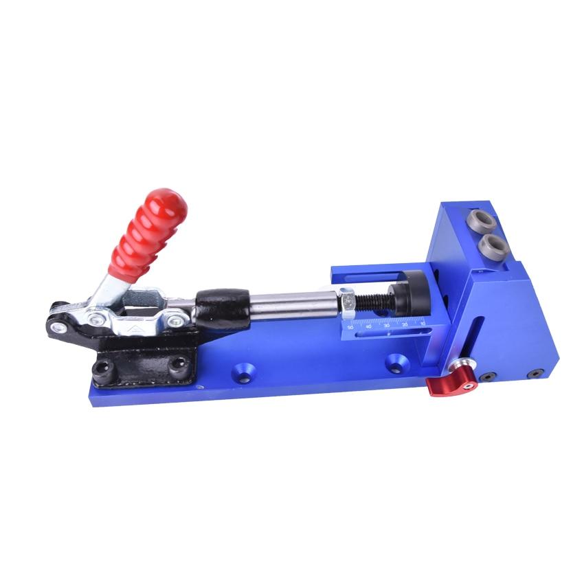 Buraco bolso Sistema de Kit de Reparação de carpintaria Carpinteiro Jig Guia Com Alternância Braçadeira 9.5mm e 3/8 polegadas Broca Passo Bit - 2