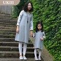 2015 Madre Hija Vestidos A Juego Vestido de Las Mujeres del Estilo Del Otoño Del Verano Vestidos de Manga Larga Más Tamaño de La Familia Mirada de Encaje Ropa