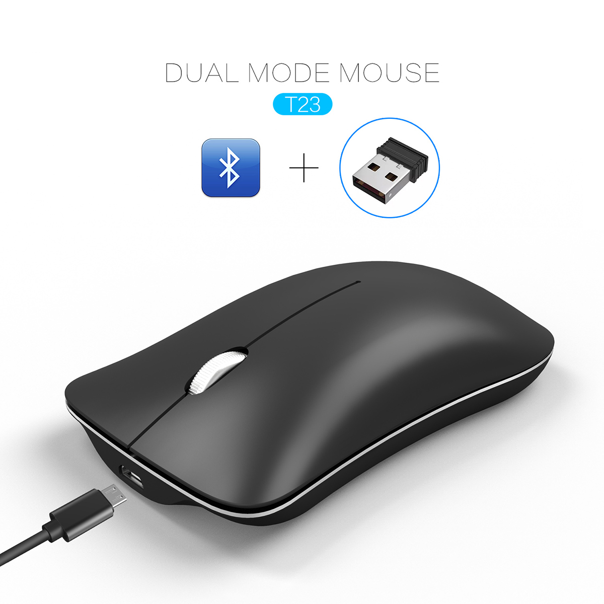 Wireless Bluetooth Dual Mode Mouse Can Connect 2 Computer Quiet Silent Design Rechargeable Optical Mouse For IPad MAC PC