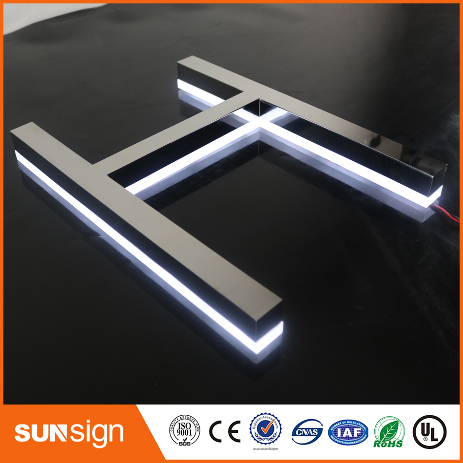 Professional Mirror Metal Letters With Lights Polished Stainless Steel Backlit 3d Letter Signs For Cabinet Sign Commercial Signs