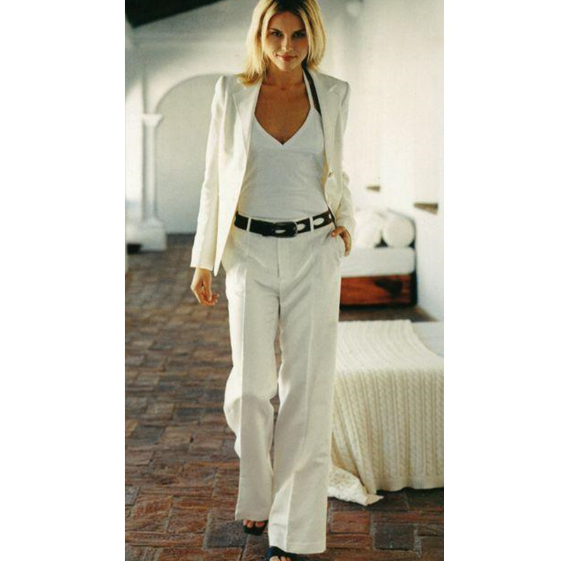 Custom Made Ivory Women Tuxedos Peaked Lapel Suits For Women Two Button Business Suits(Jacket+Pants)