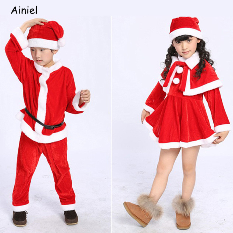 Christmas Santa Claus Cosplay Costumes Girl Boy Velvet Dresses Cloak Hats Belt Set Uniform Children Kids Halloween Party Clothes