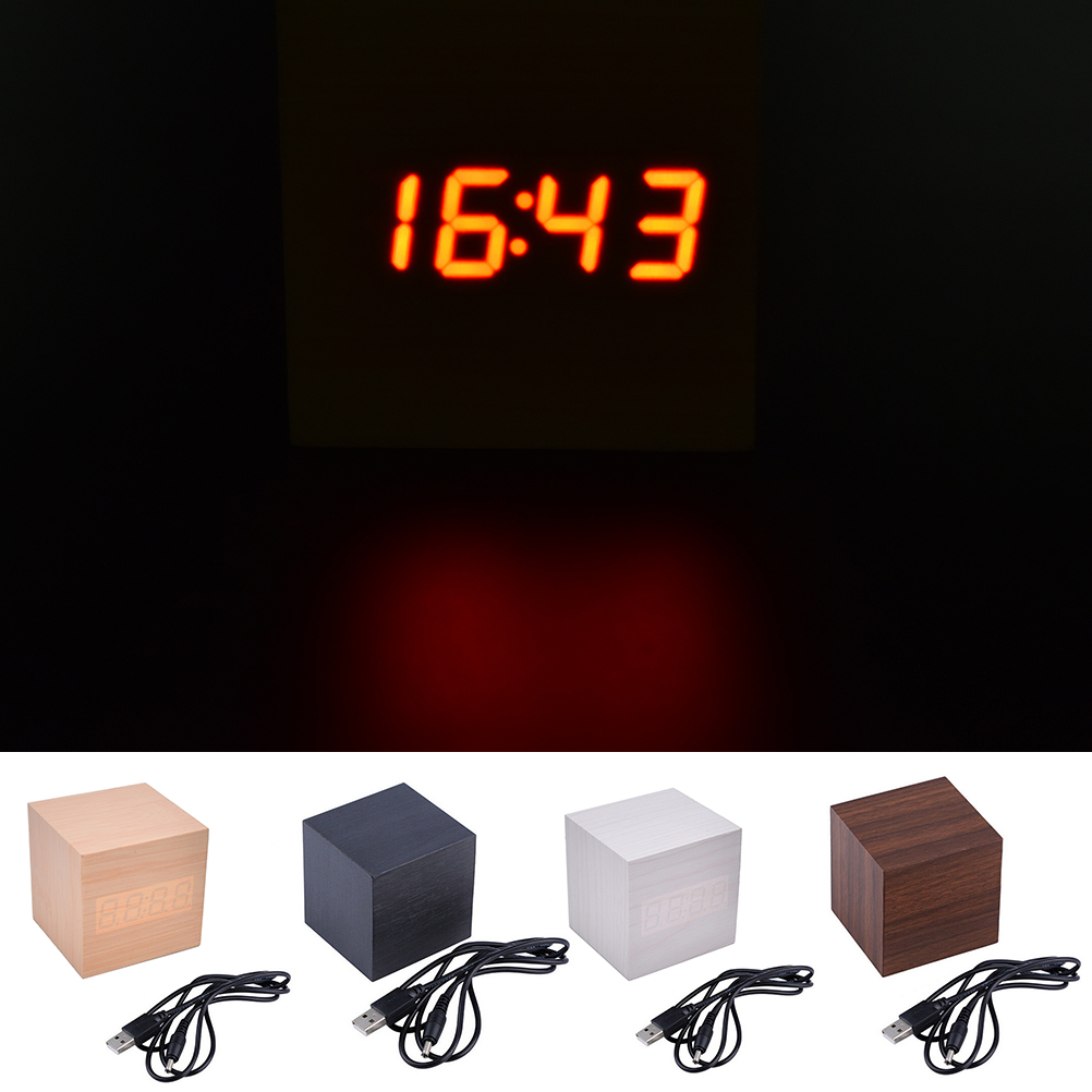 Electronic table Watch Nixie Wood Bedside Alarm Clock <font><b>Cube</b></font> Wooden Clock Voice Control <font><b>LED</b></font> Digital alarm clock Desk Snooze image