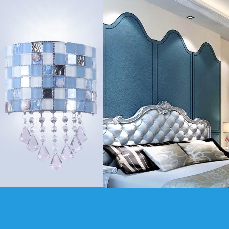 ФОТО Fashion Blue Mosaic Crystal Wall Sconce Bedroom Bedside Wall Lamp Modern LED Wall Light Fixtures For Home Lighting Arandela