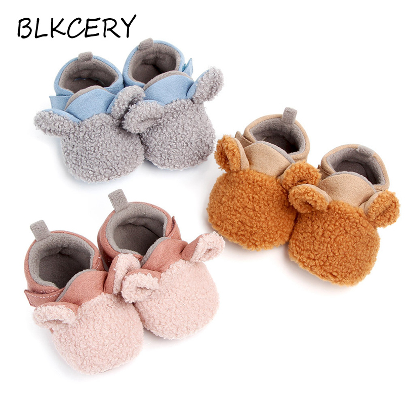 New Born Baby Shoes For Girls Boys Infant First Walkers Winter Plush Warm Fashion Cartoon Crib Shoes Loafers Toddler Slippers