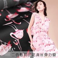 17 Summer 19mm Silk Fabric New Digital Printing Silk Stretch Satin Flamingos High Quality Wholesale Silk