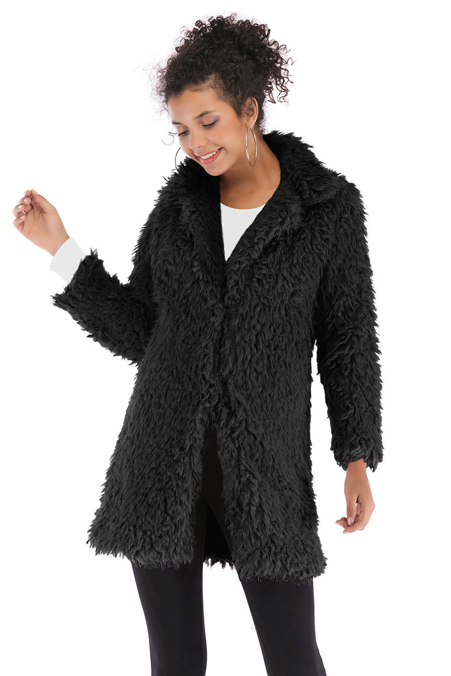 Gladiolus 2018 Women Autumn Winter Coat Turn-Down Collar Long Sleeve Covered Button Long Warm Shaggy Faux Fur Coat Women Jackets (21)