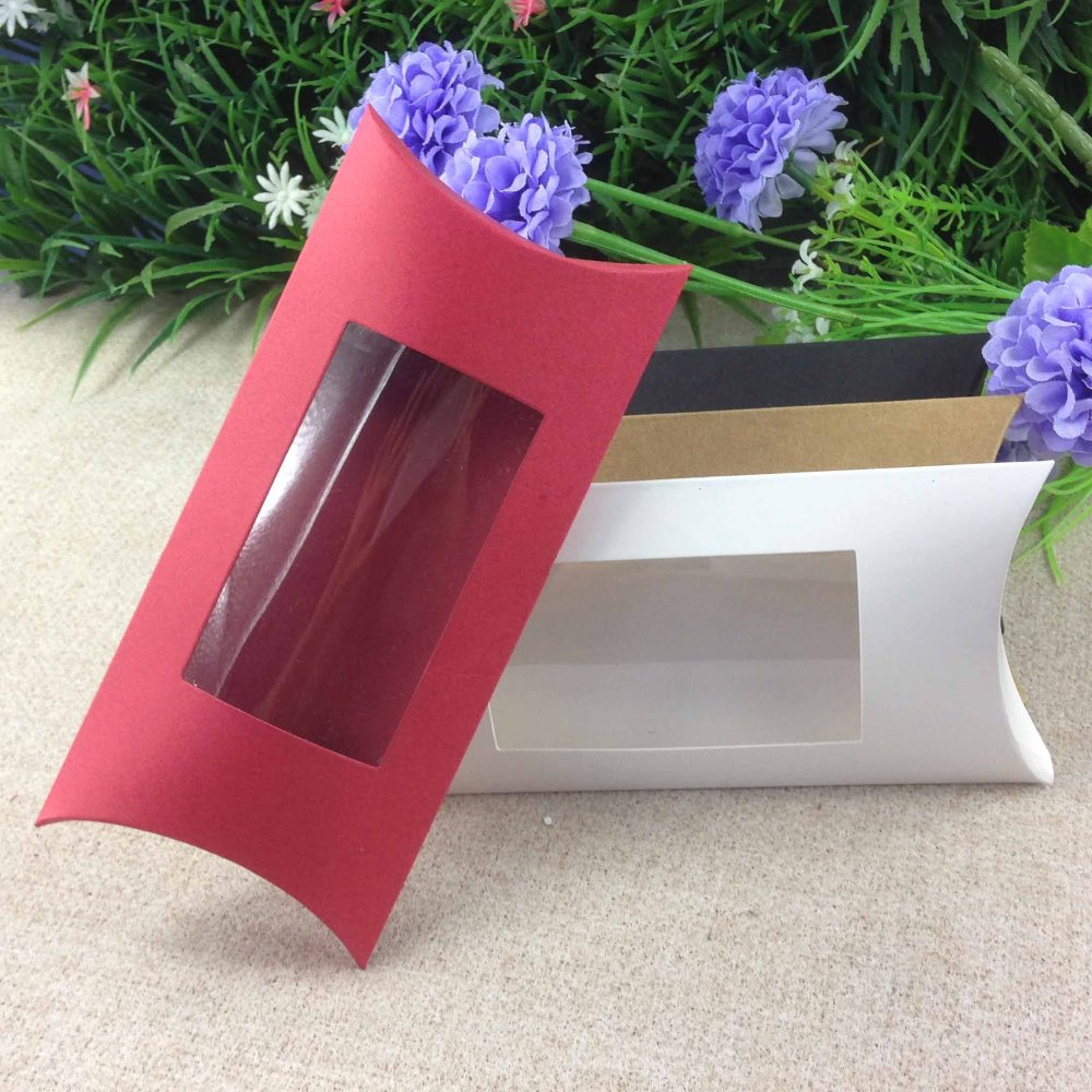 30pcs diy Kraft white black paper Pillow Packaging Window Box For Packing Gift Jewelry Ring Earing Favor Party Candy gift box