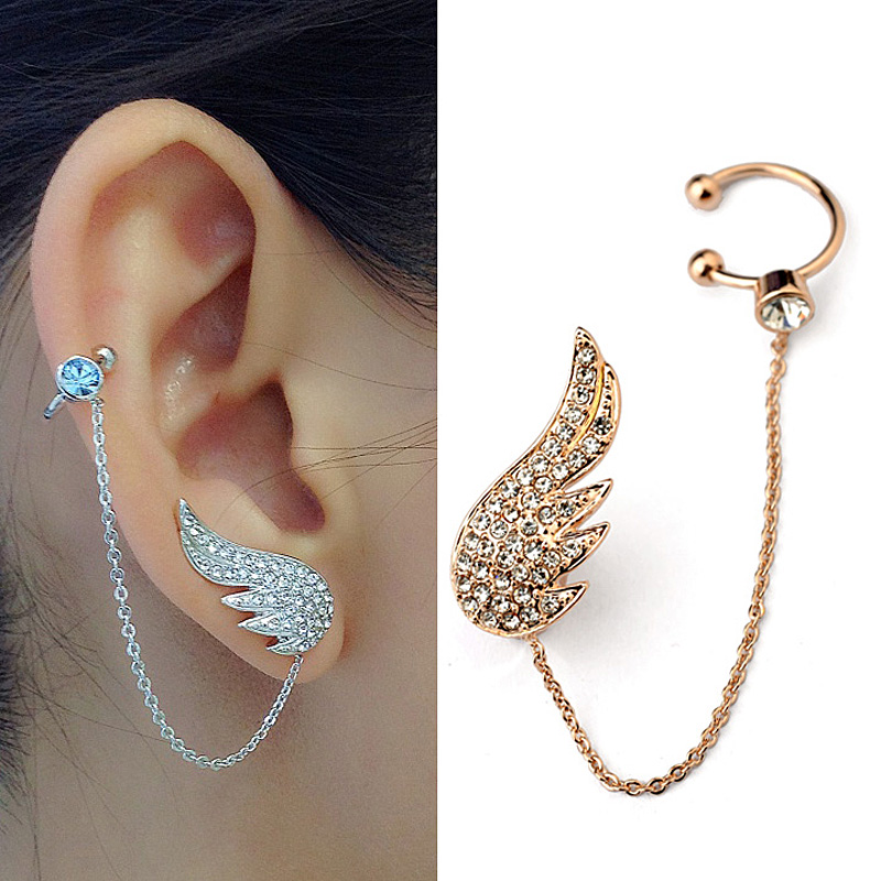 2015 New Style Fashion Ear Cuff Jewelry Inlay  Austrian Crystal  Angel Wings Stud Earring Sets Fashion Party Jewelry  Сумка