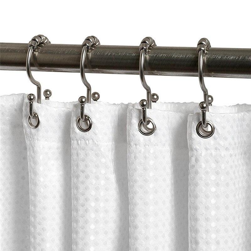 W Shape Chrome Color 5 Square Balls Roller Shower Curtain Ring Hook for Bathroom Rod