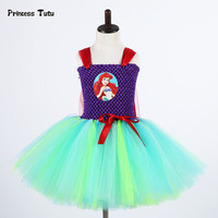 Mermaid Ariel Princess Dress Baby Girl Tutu Dress Fancy Girls Birthday Party Tulle Dress Kids Halloween