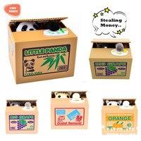 Unfug-einsparung-kasten Kleiner Panda hund katze Stehlen Geld Spielzeug Lustige Tiere Panda Automatische Elektrische Stola Piggy Bank Geschenk