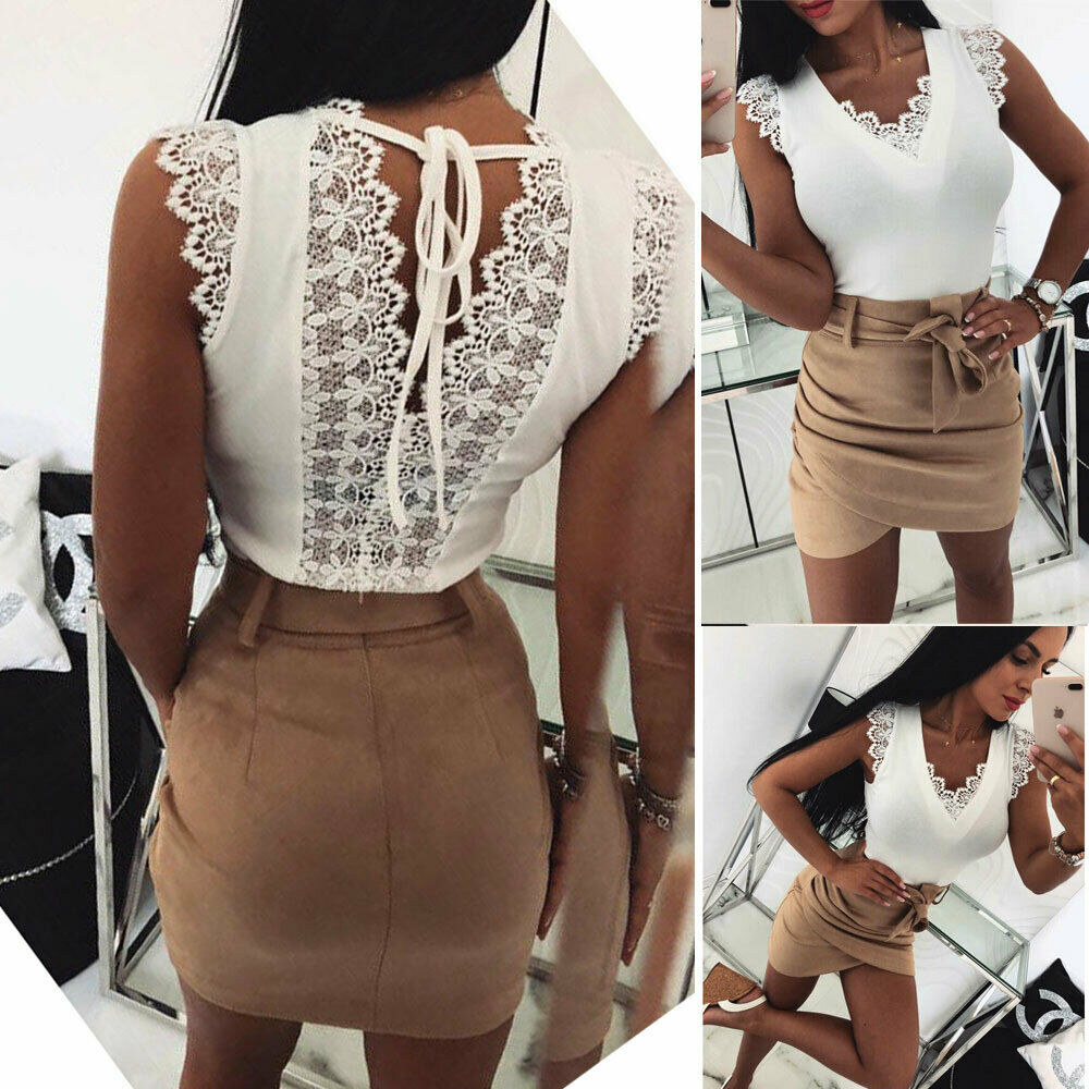 Back V Sexy Lace-Up Women Summer Tank Tops Lace Vest Fashion Camisole Sleeveless Casual T-Shirt