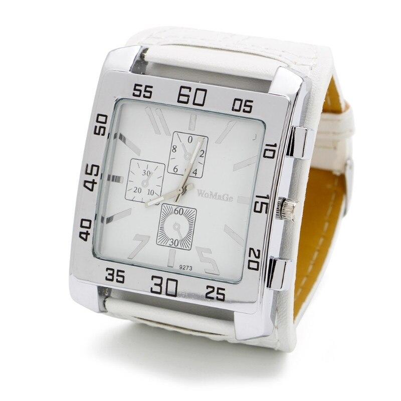 Кварцевые часы модные шикарные с кожаным ремешком Мужские Женские наручные часы квадратный циферблат - Цвет: W