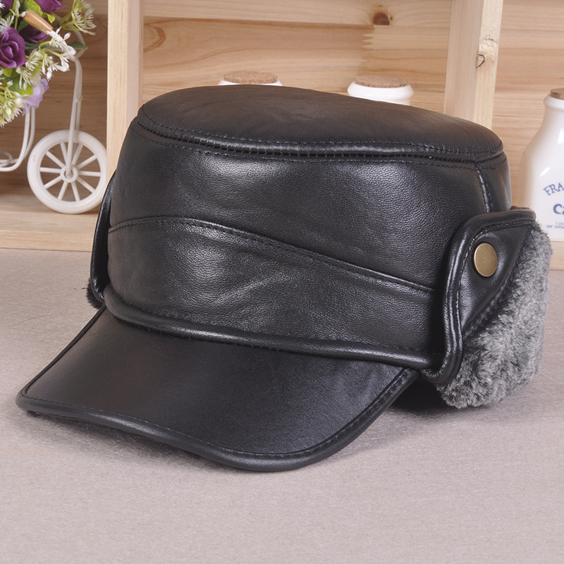 new sheep skin leather hats winter baseball cap bomber cap protect ear Benn middle-aged men's Plus thick velvet flat-topped hat brushed cotton twill ivy hat flat cap by decky brown