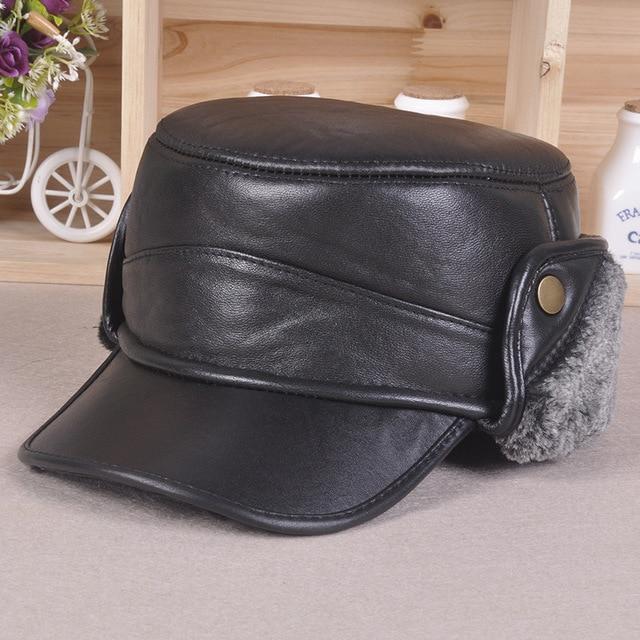 new sheep skin leather hats winter baseball cap bomber cap protect ear Benn middle-aged men's Plus thick velvet flat-topped hat